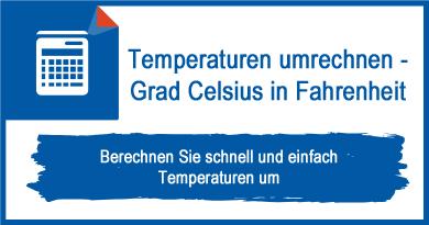Temperaturen umrechnen - Grad Celsius in Fahrenheit